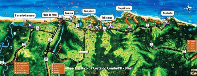 Mapa da Costa do Conde, no litoral sul da Paraiba