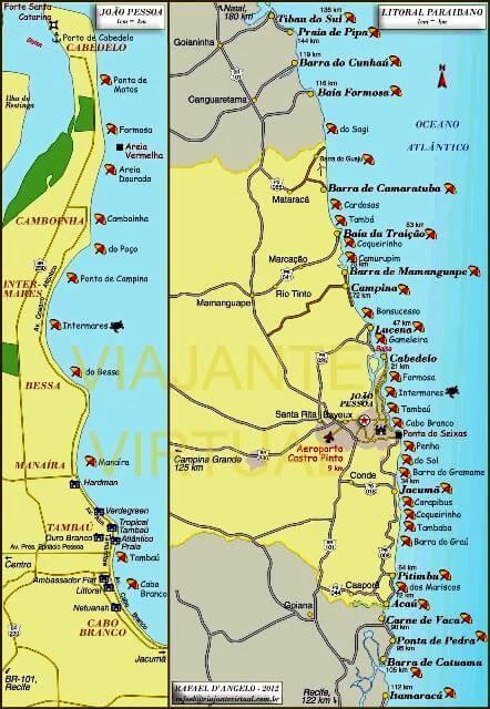 Mapa De Joao Pessoa E Das Praias