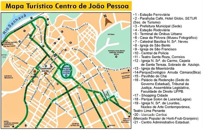 Carte du centre historique de João Pessoa